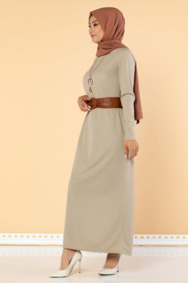 Deri Kemerli Kolyeli Elbise-2036 Bej