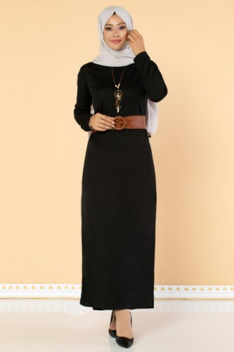 Modaebva - Deri Kemerli Kolyeli Elbise-2036 Siyah