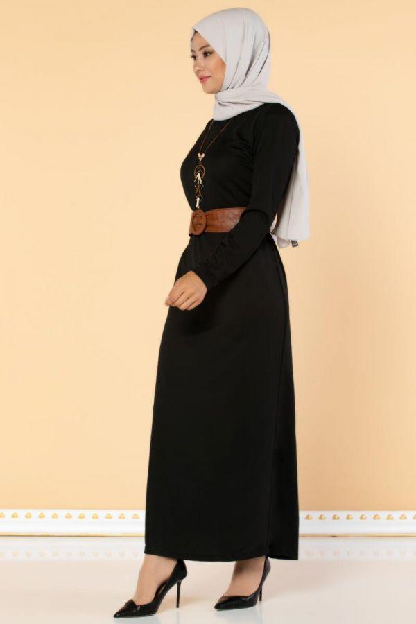 Deri Kemerli Kolyeli Elbise-2036 Siyah