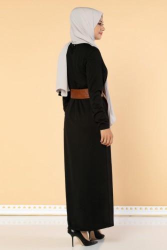 Deri Kemerli Kolyeli Elbise-2036 Siyah - Thumbnail