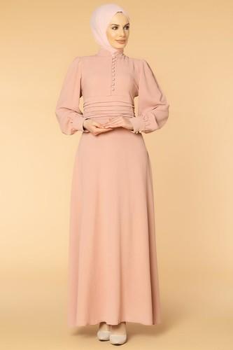 Modaebva - Drape Detay Tesettür Elbise-3999 Gülkurusu