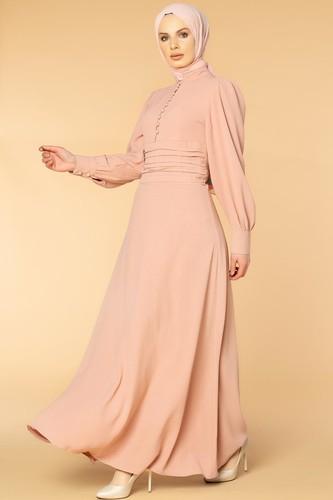 Modaebva - Drape Detay Tesettür Elbise-3999 Gülkurusu (1)