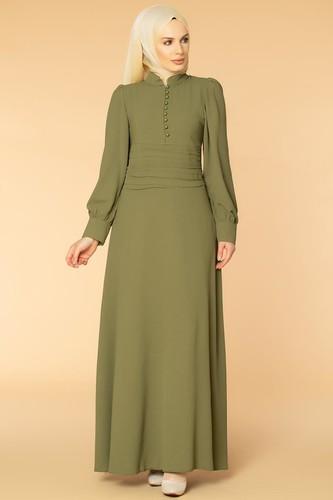 Modaebva - Drape Detay Tesettür Elbise-3999 Hakiyeşili
