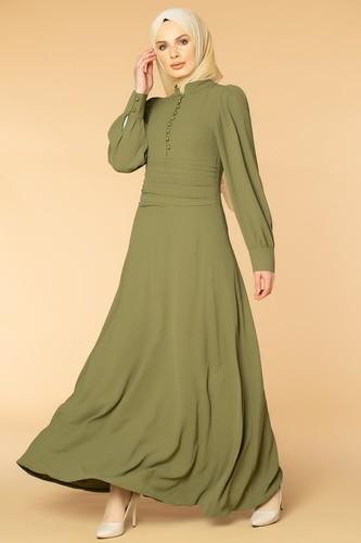 Modaebva - Drape Detay Tesettür Elbise-3999 Hakiyeşili (1)