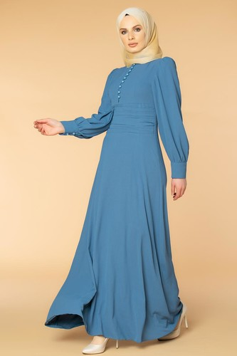 Modaebva - Drape Detay Tesettür Elbise-3999 İndigo