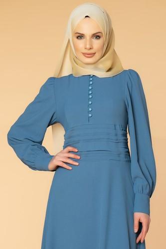 Modaebva - Drape Detay Tesettür Elbise-3999 İndigo (1)