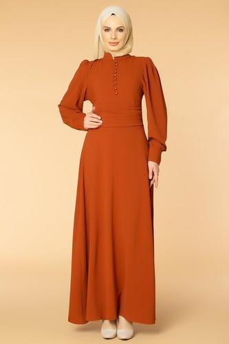 Modaebva - Drape Detay Tesettür Elbise-3999 Kiremit