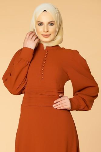 Modaebva - Drape Detay Tesettür Elbise-3999 Kiremit (1)