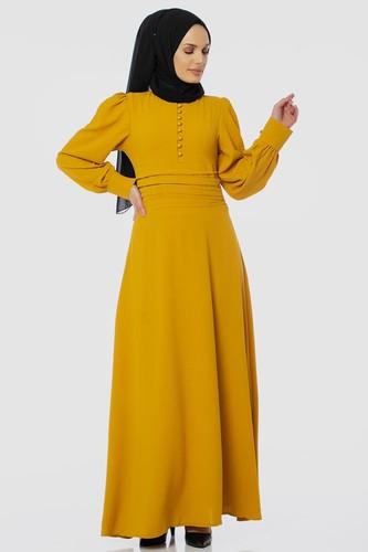 Modaebva - Drape Detay Tesettür Elbise-3999 Sarı