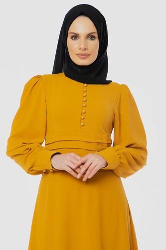 Modaebva - Drape Detay Tesettür Elbise-3999 Sarı (1)