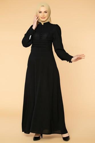 Modaebva - Drape Detay Tesettür Elbise-3999 Siyah