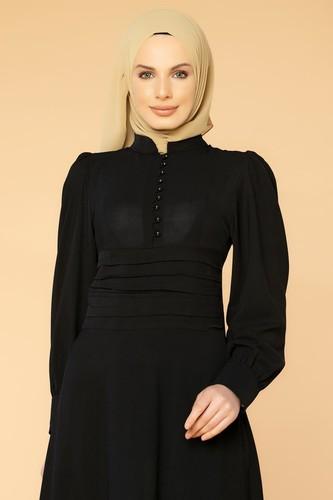 Modaebva - Drape Detay Tesettür Elbise-3999 Siyah (1)