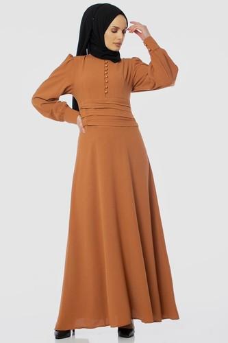Modaebva - Drape Detay Tesettür Elbise-3999 Taba