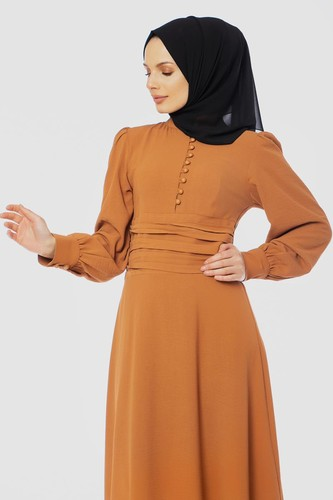 Modaebva - Drape Detay Tesettür Elbise-3999 Taba (1)