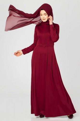 - Drape Ve Fiyonk Detay Tesettür Elbise-2056 Bordo