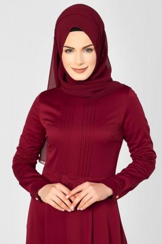 - Drape Ve Fiyonk Detay Tesettür Elbise-2056 Bordo (1)