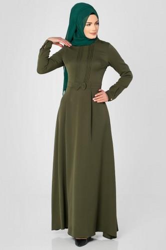 - Drape Ve Fiyonk Detay Tesettür Elbise-2056 Hakiyeşil