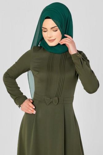- Drape Ve Fiyonk Detay Tesettür Elbise-2056 Hakiyeşil (1)