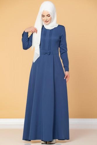 - Drape Ve Fiyonk Detay Tesettür Elbise-2056 İndigo