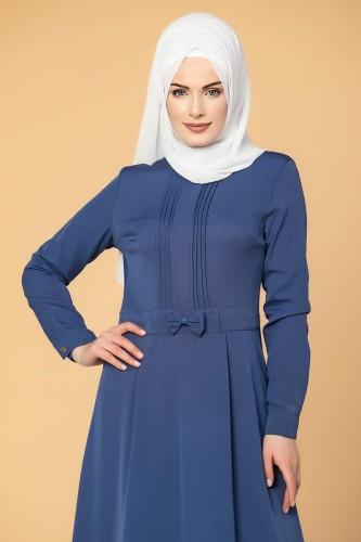 - Drape Ve Fiyonk Detay Tesettür Elbise-2056 İndigo (1)
