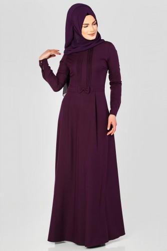 - Drape Ve Fiyonk Detay Tesettür Elbise-2056 Mor