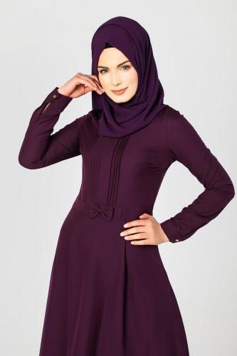 - Drape Ve Fiyonk Detay Tesettür Elbise-2056 Mor (1)