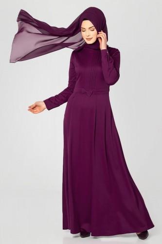 - Drape Ve Fiyonk Detay Tesettür Elbise-2056 mürdüm