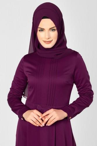 - Drape Ve Fiyonk Detay Tesettür Elbise-2056 mürdüm (1)
