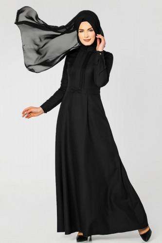 - Drape Ve Fiyonk Detay Tesettür Elbise-2056 Siyah