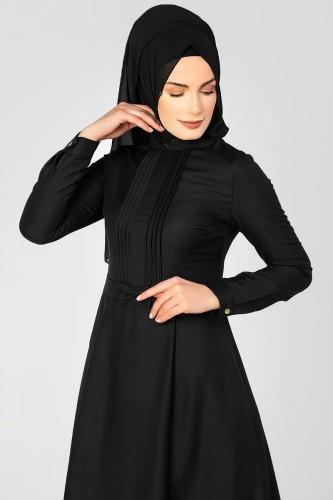 - Drape Ve Fiyonk Detay Tesettür Elbise-2056 Siyah (1)