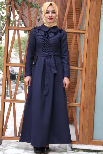 Modaebva - Drape Ve Kemerli Elbise Lacivert-ZRD1152