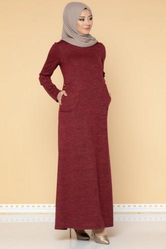 Modaebva - Düğme Detaylı Cepli Tesettür Elbise-3028 Bordo