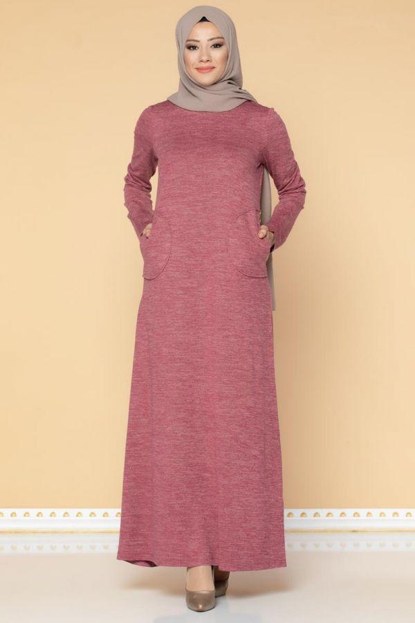 Düğme Detaylı Cepli Tesettür Elbise-3028 Gülkurusu