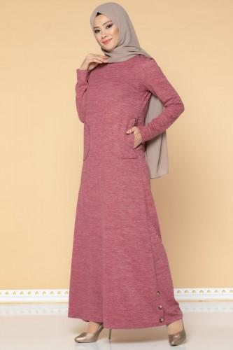 Modaebva - Düğme Detaylı Cepli Tesettür Elbise-3028 Gülkurusu (1)