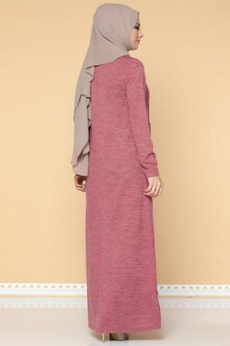Düğme Detaylı Cepli Tesettür Elbise-3028 Gülkurusu - Thumbnail