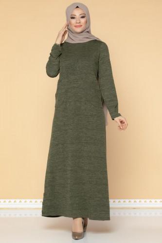 Düğme Detaylı Cepli Tesettür Elbise-3028 Hakiyeşil - Thumbnail