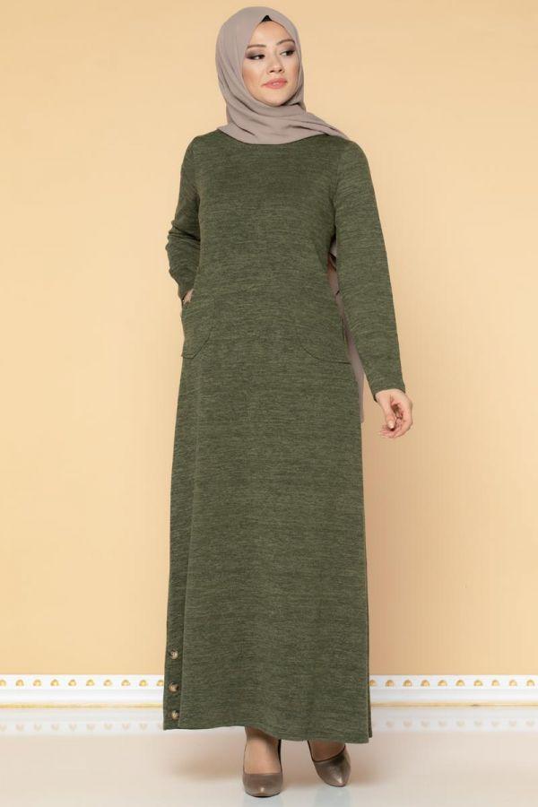 Düğme Detaylı Cepli Tesettür Elbise-3028 Hakiyeşil