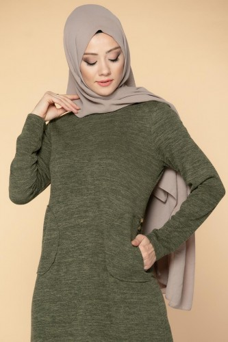 Modaebva - Düğme Detaylı Cepli Tesettür Elbise-3028 Hakiyeşil (1)