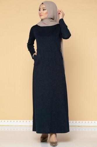Modaebva - Düğme Detaylı Cepli Tesettür Elbise-3028 Lacivert