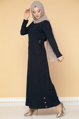 Modaebva - Düğme Detaylı Cepli Tesettür Elbise-3028 Lacivert (1)