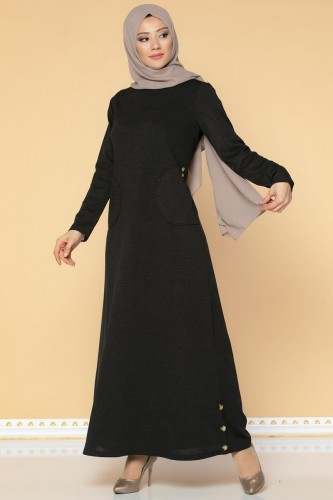 Modaebva - Düğme Detaylı Cepli Tesettür Elbise-3028 Siyah