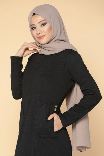 Modaebva - Düğme Detaylı Cepli Tesettür Elbise-3028 Siyah (1)