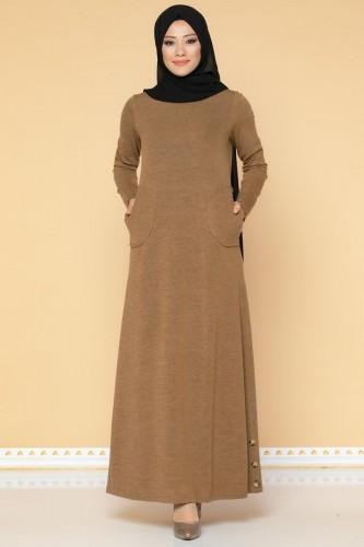 Modaebva - Düğme Detaylı Cepli Tesettür Elbise-3028 Taba