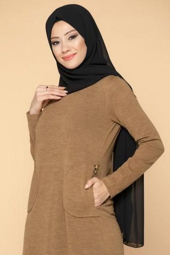 Modaebva - Düğme Detaylı Cepli Tesettür Elbise-3028 Taba (1)