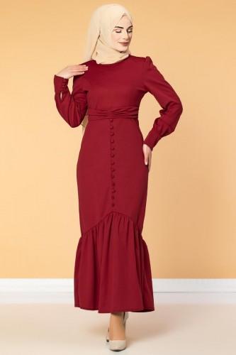 - Düğme Detaylı Fırfırlı Elbise-1960 Bordo