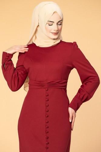 - Düğme Detaylı Fırfırlı Elbise-1960 Bordo (1)