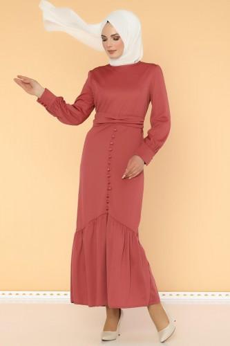 - Düğme Detaylı Fırfırlı Elbise-1960 -gülkurusu