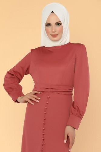 - Düğme Detaylı Fırfırlı Elbise-1960 -gülkurusu (1)