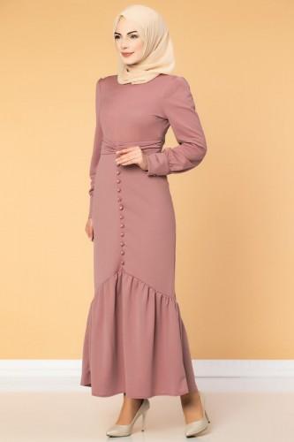 - Düğme Detaylı Fırfırlı Elbise-1960 Gülkurusu