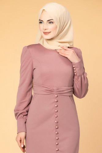 - Düğme Detaylı Fırfırlı Elbise-1960 Gülkurusu (1)